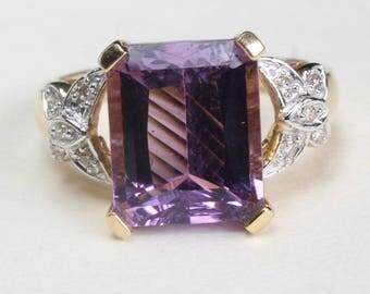 14k Gold Amethyst Ring Diamond February Birthstone Birthday Butterfly Motif