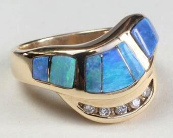 Australian Opal Diamond Inlay Inlaid Ring 14k Gold