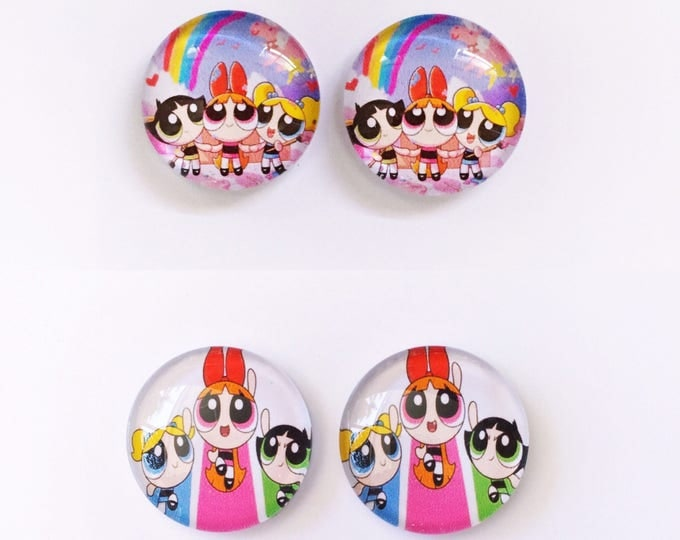 The 'Powerpuff Girls' Glass Earring Studs