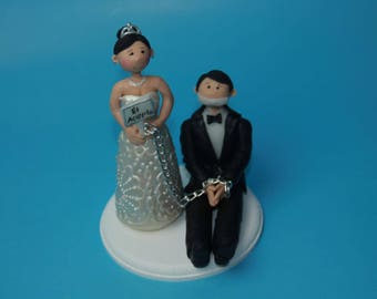 Custom cake topper wedding with groom tied for wedding. Wedding keepsake. The bride and groom.  Cake topper.Cake decoration. Party Supplies.