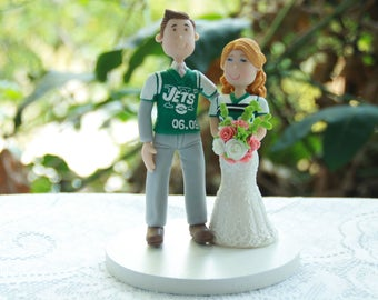 Football fans, New York Jets fanatic, NY Jets Jerseys, Handmade. Fully customizable. Wedding cake topper, Bride and Groom, American football