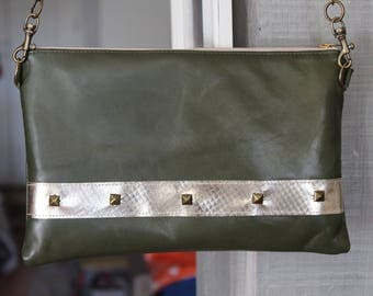 Leather handbag olive green and gold