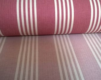 CANVAS ticking red stripe unbleached cotton and polyester