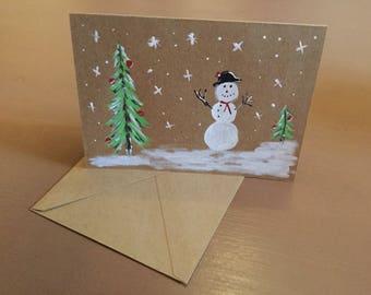 Snowman snow Christmas card.