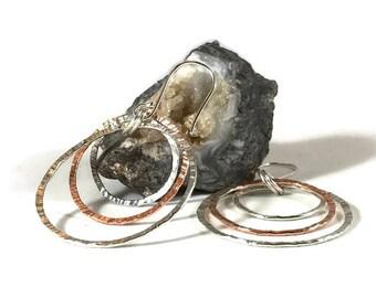 Mixed Metal Earrings Sterling silver and copper hoop earrings Hammered earrings Handmade silver earrings Everyday earrings