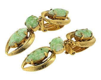 Christian Dior 1963 Green Marbled Glass Vintage Earrings