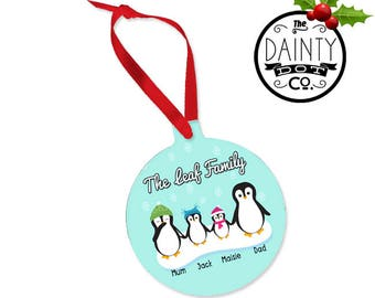 Family Christmas Bauble Personalised, First Christmas, Penguin Bauble,Family christmas decoration, Custom Family Christmas Ornament