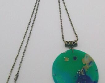 Round Mokume Gane style necklace