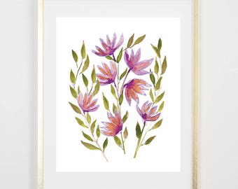 Purple Flowers Art Print / Watercolor / Gifts for her / Home Decor / Gift for mom / Floral Decor/ Floral Art / Girls Room / Original Art