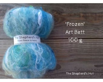 Mixed Wool Art Batt 'Frozen' 100 g  3.5 oz