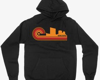 Vintage Retro 1970's Style Grand Rapids Michigan City Skyline Hoodie