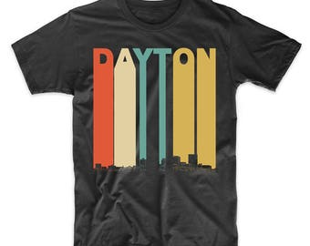 Vintage Retro 1970's Style Dayton Ohio Skyline T-Shirt