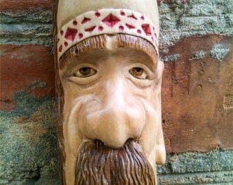 ukrainian cossack, warrior cossack, carved wood face, ukrainian souvenir, wooden face, wall mask, wooden figure, woodcarving carved wood man