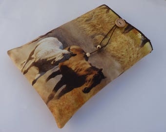 Book Sleeve, Horses book Cover, Horses Book Sleeve, Fabric Book cover, book protector, book pouch, paperback sleeve, Horses gift, book case