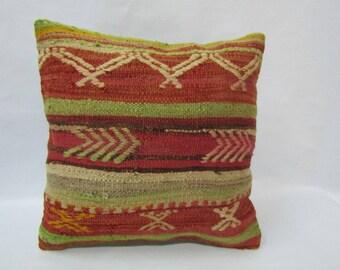 Turkish Kilim Pillow Cover,16x16 inches,40x40cm,Anatolian Turkish Handwoven Kilim Pillow Cover