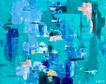 "Abstract Painting turquoise teal blue / Modern Art / Contemporary Art / Abstract Art / 19.6""x23.6"""