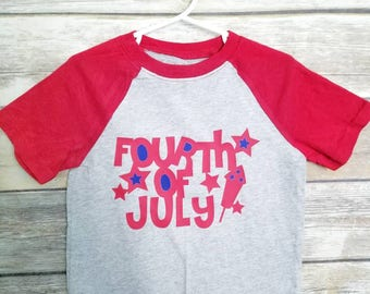 Fourth of July short sleeved raglan, 4th of July shirt for kid boy girl, July 4th tshirt for toddler, gender neutral fourth of July shirt