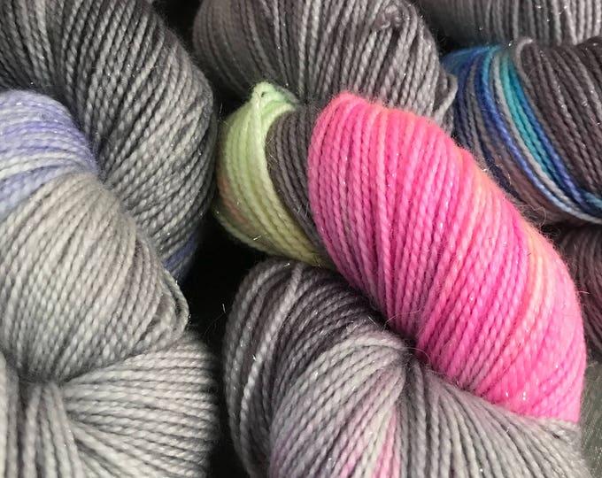 SALE- seconds 100g Superwash Merino / Nylon / Silver Stellina Sparkle Sock Yarn 4 ply, fingering, hand dyed in Scotland, grey, pastel rainbo