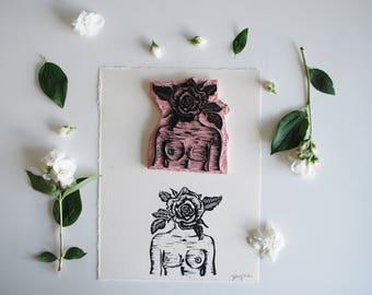 Surrealist Woman/Rose Linocut Print