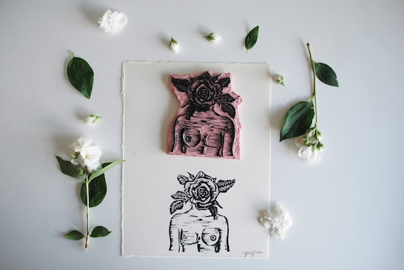 Surrealist Woman/Rose Linocut Print
