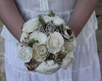 Sola Wood Flower bouquet Bridal natural white