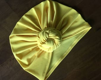 Yellow Turban Hat - Baby Turban - Toddler Turban - Baby Headwrap - Summer Turban - Top Knot Turban - Twisted Knot Turban - Adult Turban