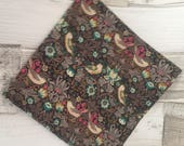 William Morris  Pocket Square, Strawberry Thief  - Brown, Cotton Pocket Square, Pocket Squares, Liberty of London fabric