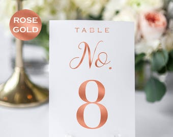 Wedding Table Number Printable - Table Numbers - Rose Gold Table Numbers Wedding - Rose Gold Wedding - Downloadable wedding #WDHSN8124