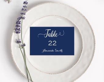 Navy Place Card - Place Cards Printable - Simple Wedding - Navy and White  Wedding  - Navy Wedding -  Downloadable wedding #WDH987NW