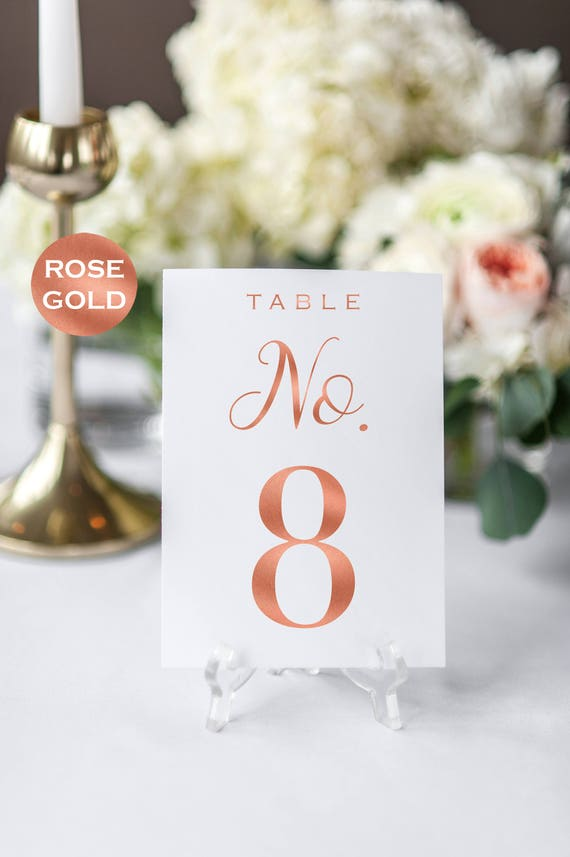Wedding Table Number Printable - Table Numbers - Rose Gold Table ...