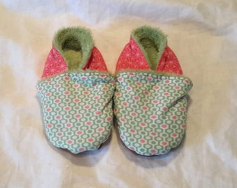 Baby shoes child filled, T 24 green and pink
