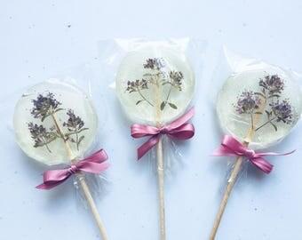 Rustic wedding favor, wild one Set of 3 forest pinkish purple edible flower thyme lollipop, wild birthday party favor, foodie gift, sucker