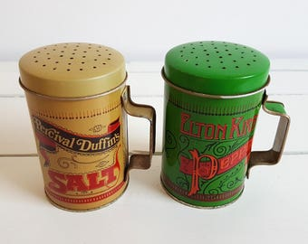 Vintage salt and pepper shakers * vintage storage container * kitchen storage * vintage kitchen decoration * vintage collectible tins