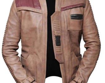 Finn Star Wars Poe Dameron John Boyega Genuine Cow hide Leather Waxed Jacket