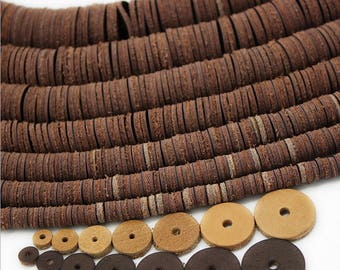 100pcs-Natural cow leather spacer beads, Dark coffee beads,6-18mm,round beads,leather pad,DIY Jewelry Findings Y0436