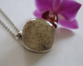 Natural Real Windswept Dandelion Resin Orb Silver Pendant Necklace on Silver Chain Handmade Jewellery