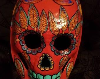Red Dia de los Muertos mask