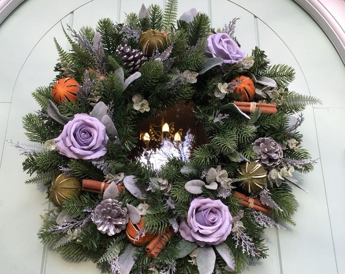 Beautiful christmas grey rose door wreath