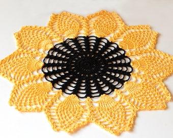 Crochet Doily Sunflower Gift idea Home Decor Living Room Decor Pineapple Doily Ukrainian Art Table Decor Table Topper Table Centerpiece
