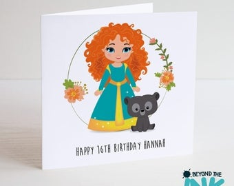 Personalised Merida Brave Birthday Card