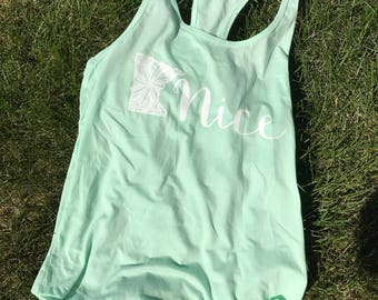 MN Nice Tank Top in Mint Summer Lakeside Minnesota Shirt