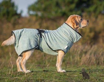 Dog Bathrobe sea green - Made to Order - Doggy bathrobe