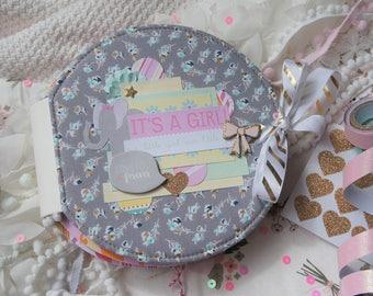 Baby Girl Photo Album, Mimi Album, Baby Girl Mini Album, Baby Girl Scrapbook Album, Baby Scrapbook Album, Baby Memory Book