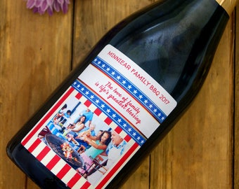Patriotic Wine Label, July Fourth Wine Label, Family Reunion, Personalized Wine Label, Patriotic Gift, Custom Wine Label, BBQ Gift, Wine