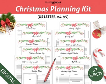 Christmas Planner Printable, Gift Planner, Holiday Planner Kit, Party Organizer, XMas Planner, Thanksgiving Planner, A5 A4 Letter Size