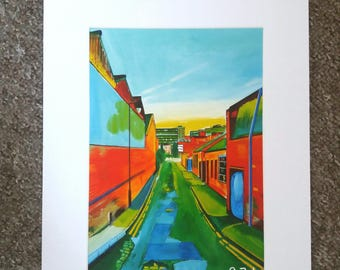 "Limited edition print - Cotton Mill Row - Kelham Island, Sheffield  - A3, A4 or 7"" x 5"" Print of an Original Painting by Bryan John"
