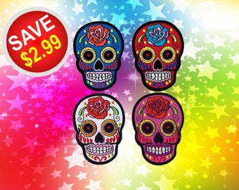 Skull Patches Sugar Skull Patch Iron On Patch Embroidered Patch Sew On Patch Patches For Jackets