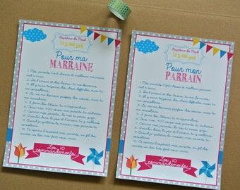 Cadeaux parrain marraine - 2 Grandes cartes Les 10 commandements de la marraine et du parrain  - thème moulin à vent