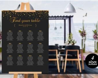 Gold Wedding Seating Chart  printable Template seating chart Seating Chart Template Find your seat sign Simple Seating Plan editable PDF