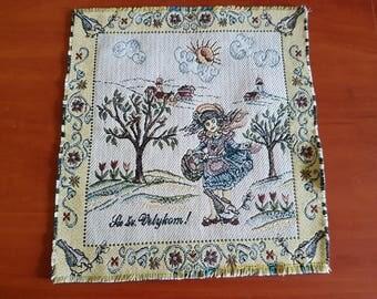 Vintage multicolor square cotton woven serviette / table-napkin / doily, home decoration for Easter